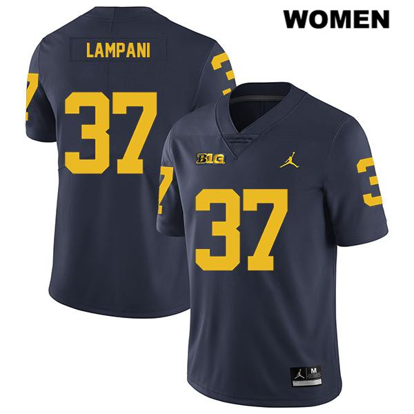 Womens Stitched Jordan no. 37 Legend Michigan Wolverines Navy Jonathan Lampani Authentic College Football Jersey - Jonathan Lampani Jersey