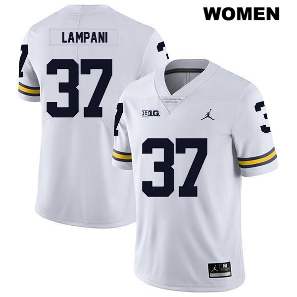Womens no. 37 Stitched Jordan Michigan Wolverines White Legend Jonathan Lampani Authentic College Football Jersey - Jonathan Lampani Jersey
