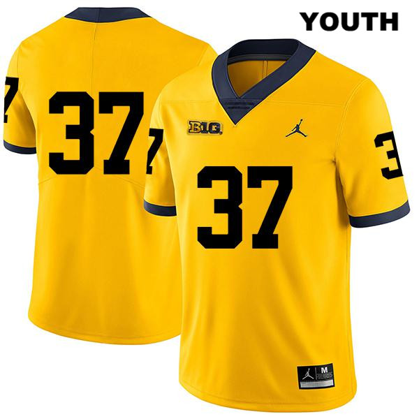 Youth no. 37 Michigan Wolverines Stitched Yellow Legend Jonathan Lampani Jordan Authentic College Football Jersey - No Name - Jonathan Lampani Jersey