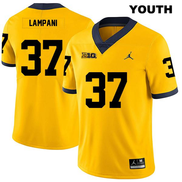 Stitched Youth no. 37 Jordan Michigan Wolverines Yellow Legend Jonathan Lampani Authentic College Football Jersey - Jonathan Lampani Jersey