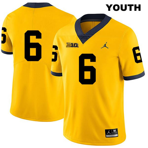 Youth Legend no. 6 Stitched Michigan Wolverines Jordan Yellow Josh Uche Authentic College Football Jersey - No Name - Josh Uche Jersey