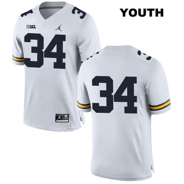 Jordan Youth no. 34 Michigan Wolverines Stitched White Julian Garrett Authentic College Football Jersey - No Name - Julian Garrett Jersey