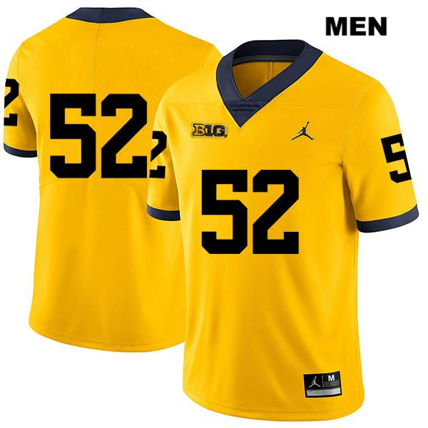 Mens no. 52 Michigan Wolverines Stitched Legend Yellow Jordan Karsen Barnhart Authentic College Football Jersey - No Name - Karsen Barnhart Jersey