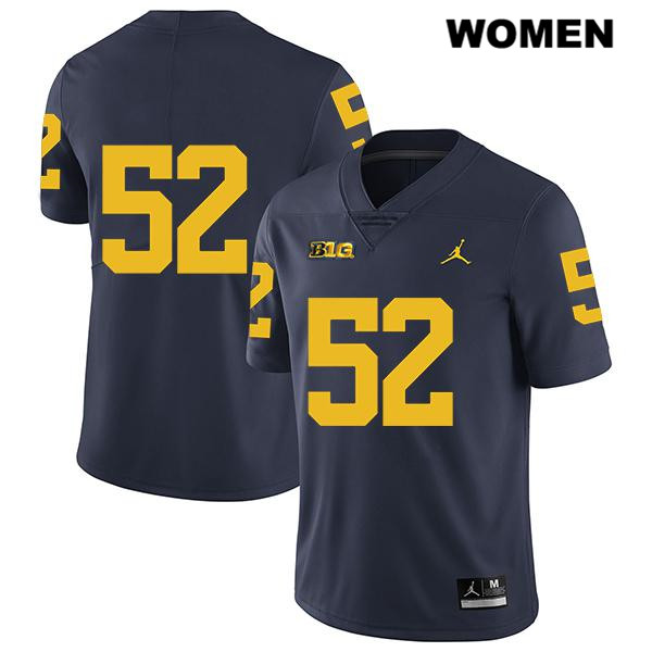Legend Womens no. 52 Michigan Wolverines Navy Jordan Stitched Karsen Barnhart Authentic College Football Jersey - No Name - Karsen Barnhart Jersey