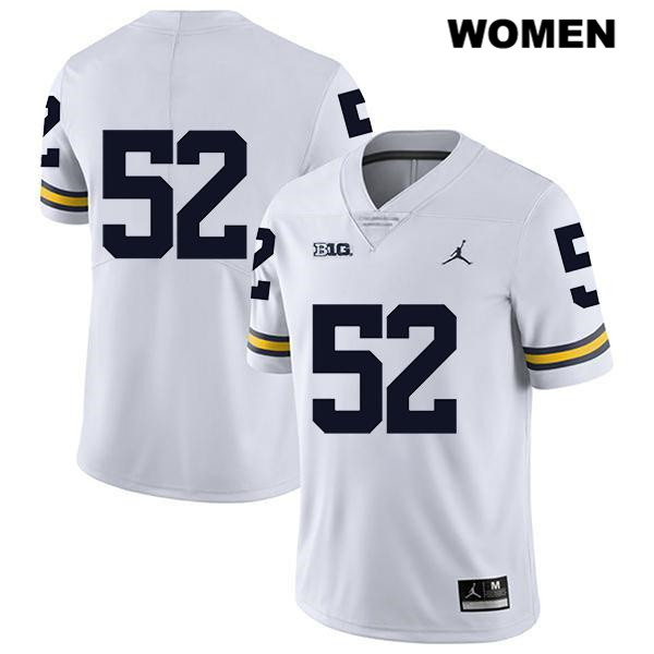 Womens Jordan no. 52 Stitched Michigan Wolverines White Karsen Barnhart Legend Authentic College Football Jersey - No Name - Karsen Barnhart Jersey