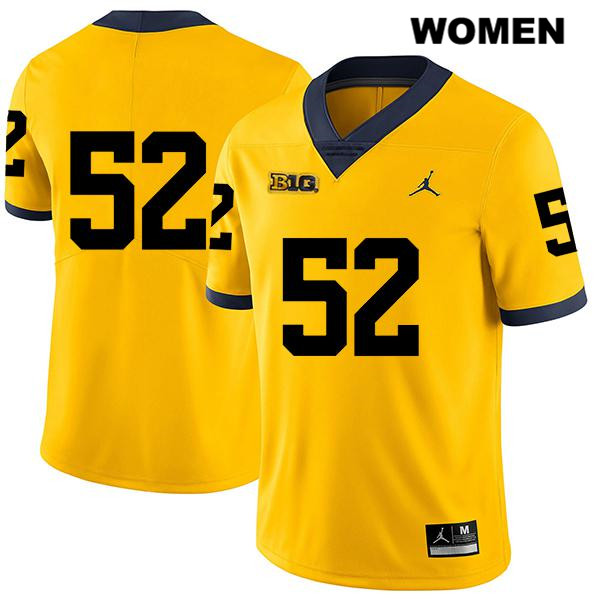 Jordan Womens no. 52 Michigan Wolverines Legend Yellow Stitched Karsen Barnhart Authentic College Football Jersey - No Name - Karsen Barnhart Jersey