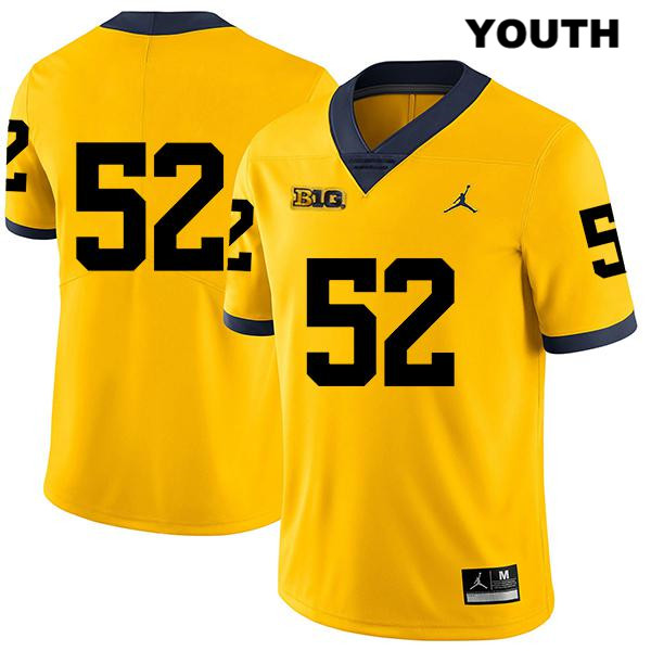 Youth no. 52 Jordan Michigan Wolverines Stitched Yellow Karsen Barnhart Legend Authentic College Football Jersey - No Name - Karsen Barnhart Jersey