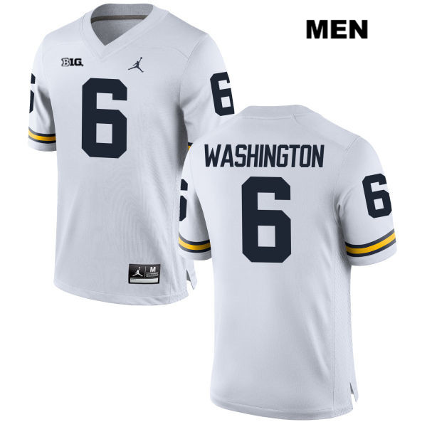 Mens Stitched no. 6 Michigan Wolverines Jordan White Keith Washington Authentic College Football Jersey - Keith Washington Jersey