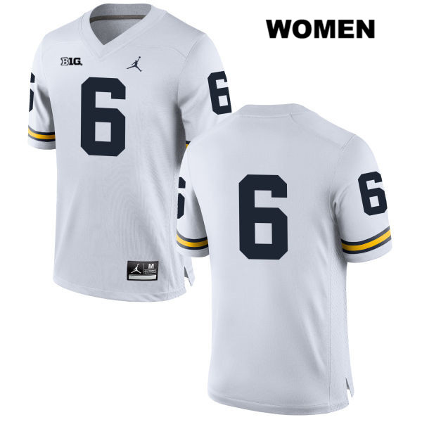 Womens no. 6 Michigan Wolverines White Jordan Stitched Keith Washington Authentic College Football Jersey - No Name - Keith Washington Jersey