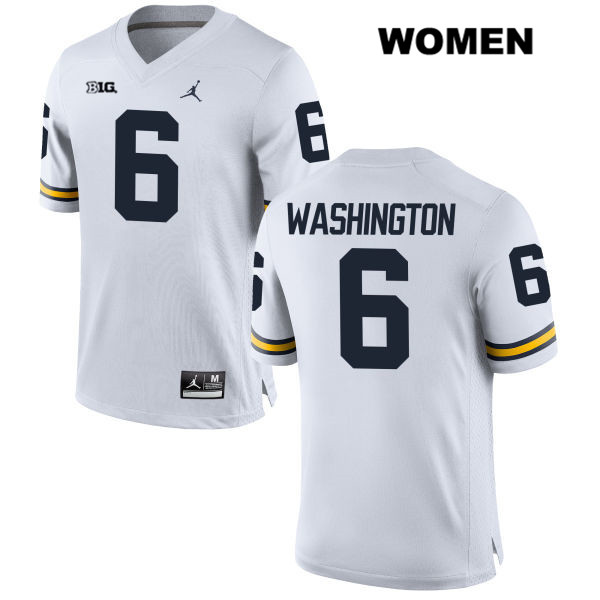 Womens Jordan no. 6 Stitched Michigan Wolverines White Keith Washington Authentic College Football Jersey - Keith Washington Jersey