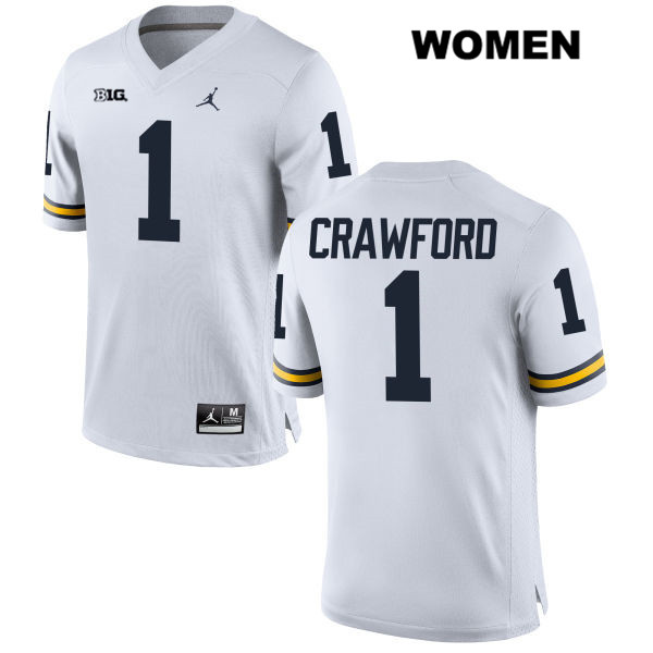 Womens no. 1 Michigan Wolverines Stitched White Jordan Kekoa Crawford Authentic College Football Jersey - Kekoa Crawford Jersey