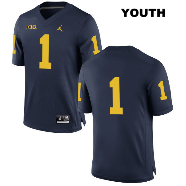 Youth Stitched no. 1 Michigan Wolverines Navy Kekoa Crawford Jordan Authentic College Football Jersey - No Name - Kekoa Crawford Jersey