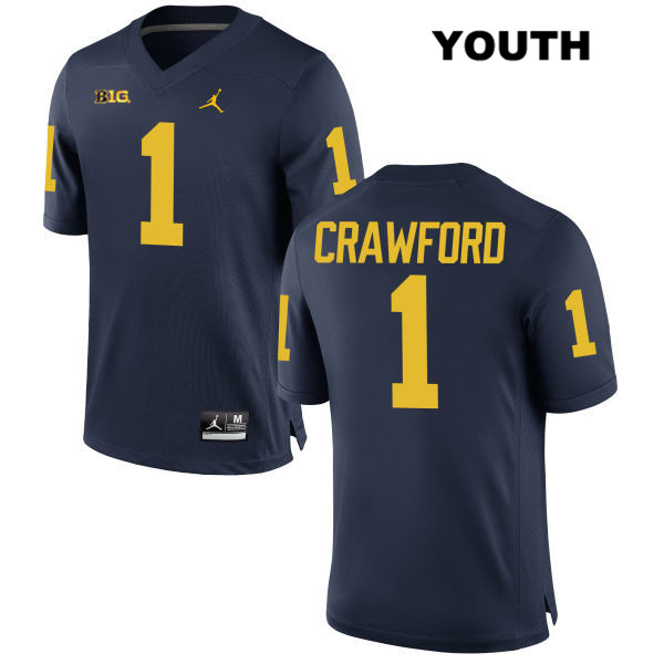 Youth Jordan no. 1 Michigan Wolverines Stitched Navy Kekoa Crawford Authentic College Football Jersey - Kekoa Crawford Jersey