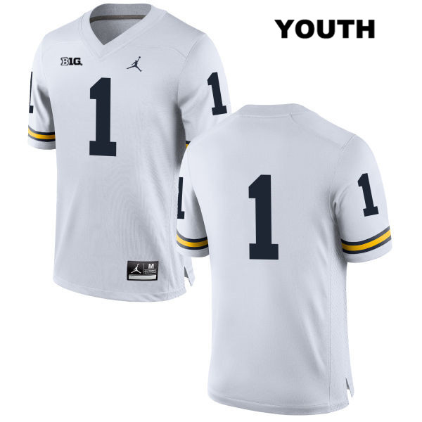 Youth no. 1 Michigan Wolverines Stitched White Kekoa Crawford Jordan Authentic College Football Jersey - No Name - Kekoa Crawford Jersey