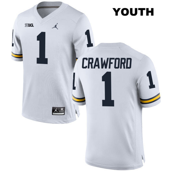 Youth Jordan no. 1 Stitched Michigan Wolverines White Kekoa Crawford Authentic College Football Jersey - Kekoa Crawford Jersey