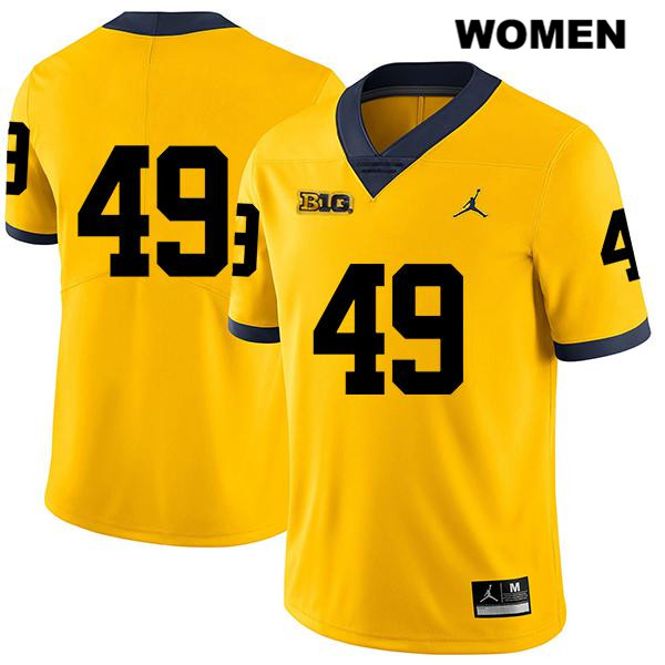 Legend Womens no. 49 Michigan Wolverines Yellow Stitched Keshaun Harris Jordan Authentic College Football Jersey - No Name