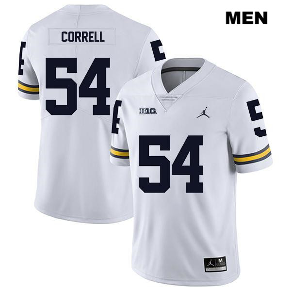 Mens Jordan no. 54 Michigan Wolverines Stitched Legend White Kraig Correll Authentic College Football Jersey