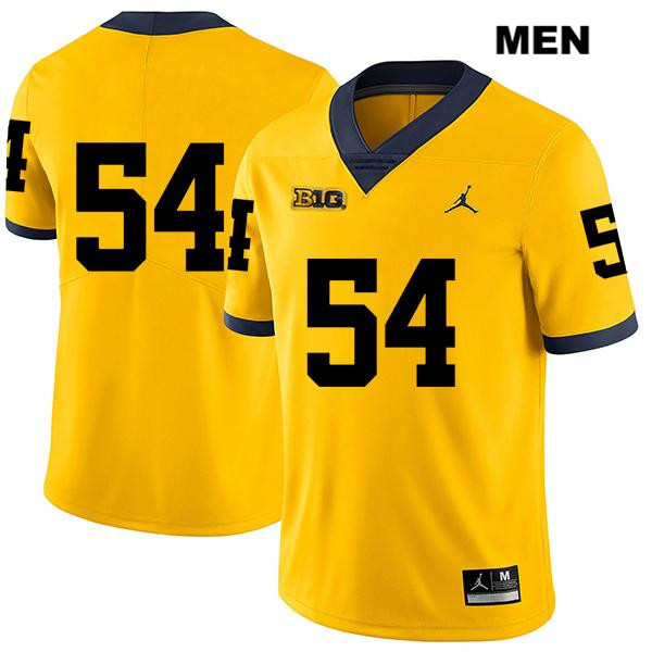 Mens no. 54 Michigan Wolverines Legend Stitched Yellow Jordan Kraig Correll Authentic College Football Jersey - No Name - Kraig Correll Jersey