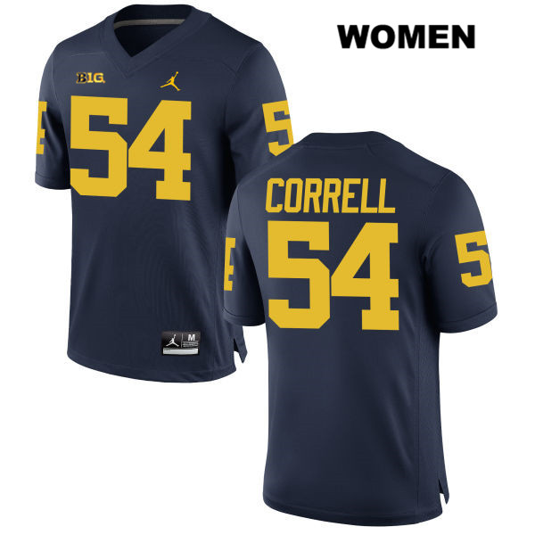 Womens no. 54 Stitched Jordan Michigan Wolverines Navy Kraig Correll Authentic College Football Jersey - Kraig Correll Jersey