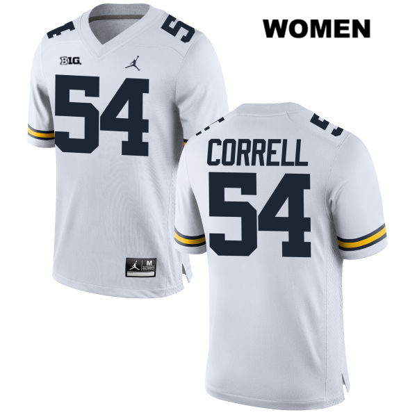 Womens Stitched no. 54 Michigan Wolverines White Kraig Correll Jordan Authentic College Football Jersey - Kraig Correll Jersey