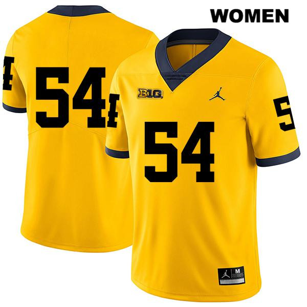 Womens Stitched no. 54 Michigan Wolverines Yellow Jordan Kraig Correll Legend Authentic College Football Jersey - No Name - Kraig Correll Jersey