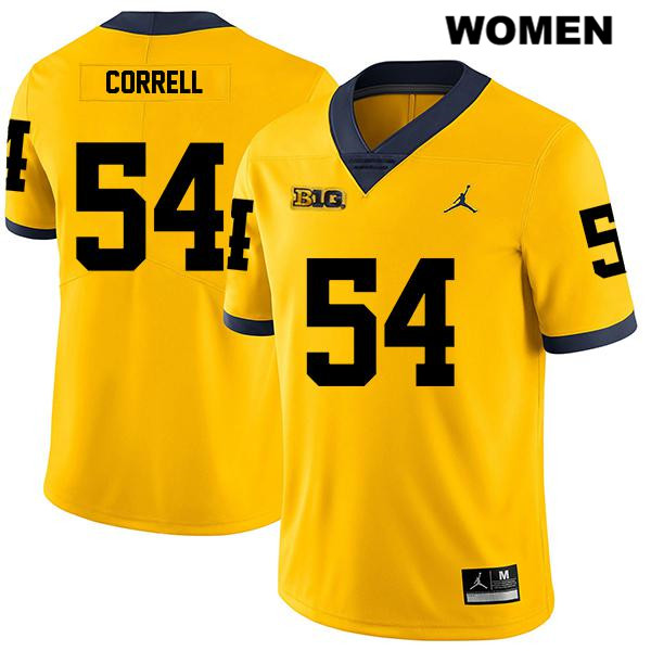 Womens Legend no. 54 Stitched Michigan Wolverines Yellow Jordan Kraig Correll Authentic College Football Jersey - Kraig Correll Jersey