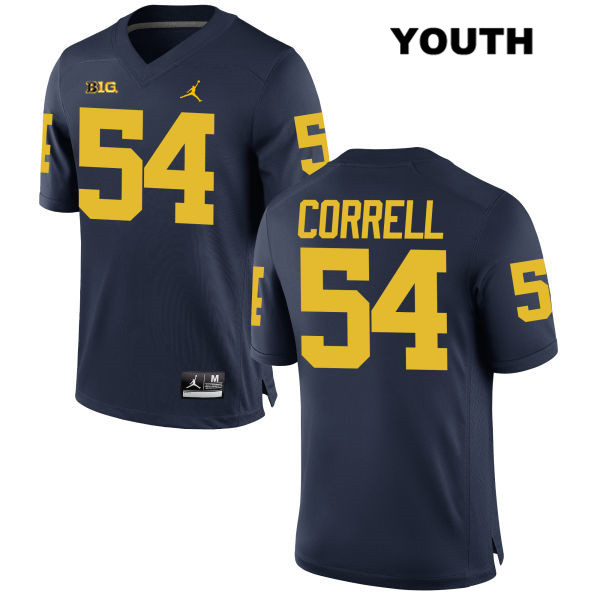 Youth Stitched no. 54 Michigan Wolverines Navy Kraig Correll Jordan Authentic College Football Jersey - Kraig Correll Jersey