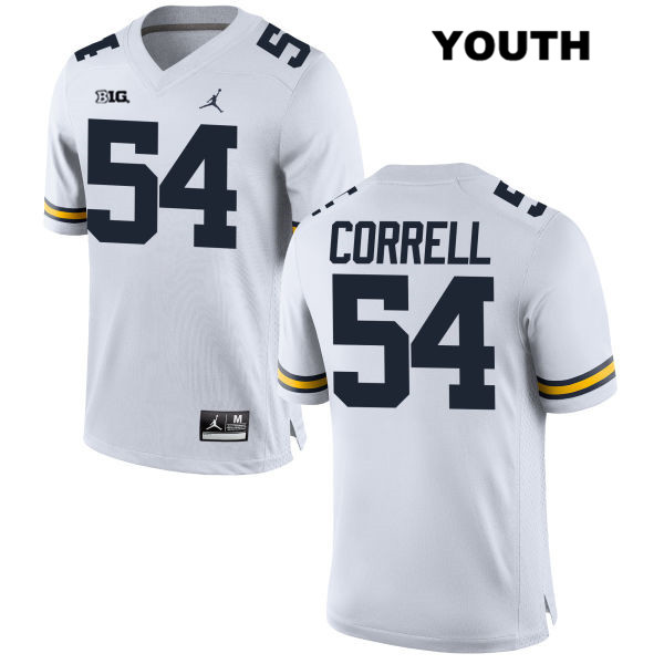 Jordan Youth no. 54 Michigan Wolverines Stitched White Kraig Correll Authentic College Football Jersey - Kraig Correll Jersey
