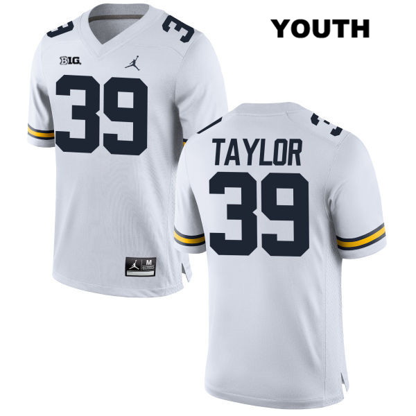 Youth no. 39 Jordan Michigan Wolverines White Stitched Kurt Taylor Authentic College Football Jersey - Kurt Taylor Jersey