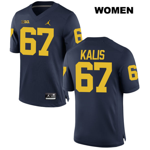 Womens no. 67 Michigan Wolverines Navy Stitched Kyle Kalis Jordan Authentic College Football Jersey - Kyle Kalis Jersey
