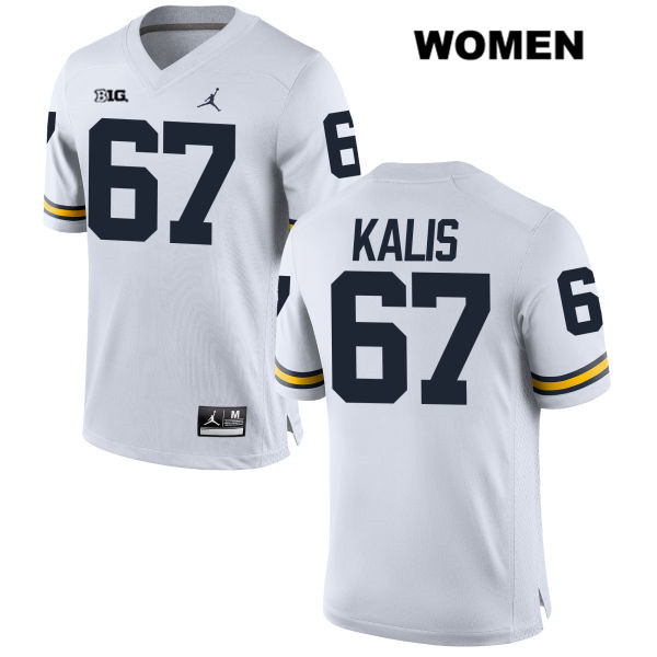 Womens Jordan no. 67 Michigan Wolverines White Stitched Kyle Kalis Authentic College Football Jersey - Kyle Kalis Jersey
