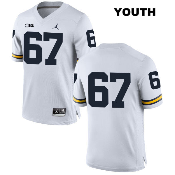 Stitched Youth no. 67 Michigan Wolverines White Kyle Kalis Jordan Authentic College Football Jersey - No Name - Kyle Kalis Jersey