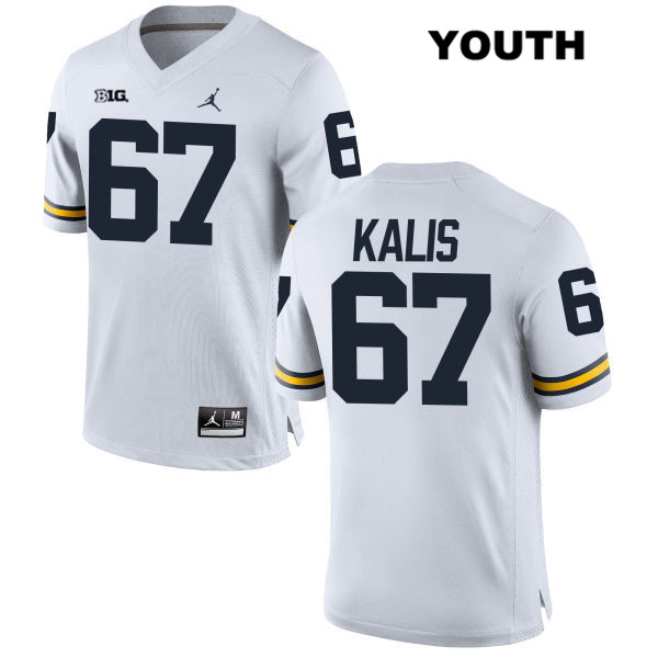 Youth no. 67 Michigan Wolverines White Jordan Kyle Kalis Stitched Authentic College Football Jersey - Kyle Kalis Jersey