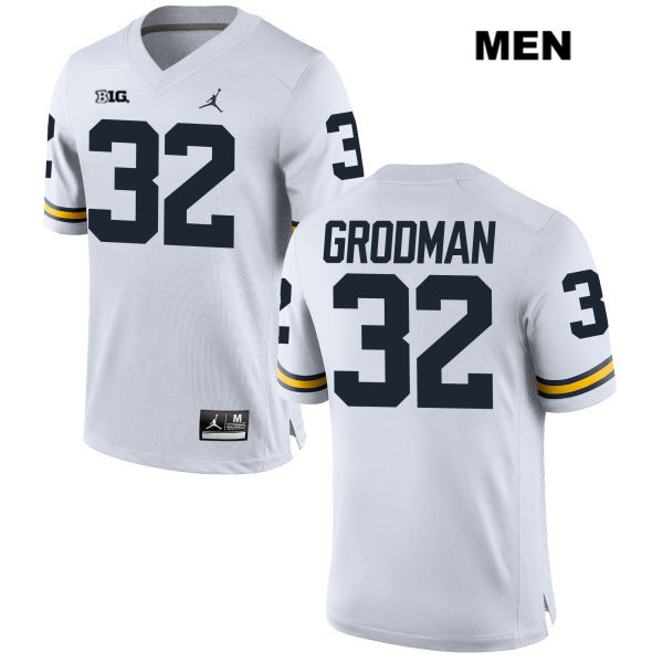 Mens no. 32 Stitched Michigan Wolverines White Jordan Louis Grodman Authentic College Football Jersey - Louis Grodman Jersey