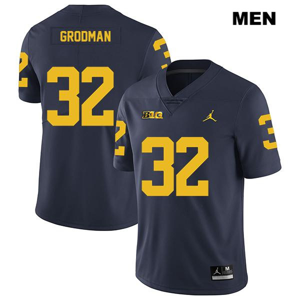 Legend Mens no. 32 Jordan Michigan Wolverines Stitched Navy Louis Grodman Authentic College Football Jersey - Louis Grodman Jersey