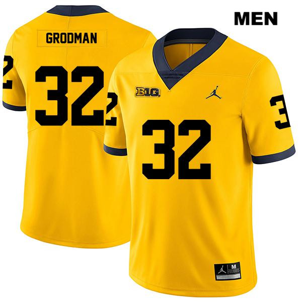 Mens no. 32 Michigan Wolverines Jordan Yellow Stitched Legend Louis Grodman Authentic College Football Jersey - Louis Grodman Jersey