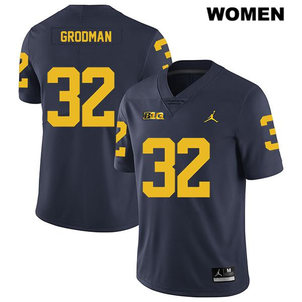Jordan Womens no. 32 Legend Michigan Wolverines Navy Louis Grodman Stitched Authentic College Football Jersey - Louis Grodman Jersey