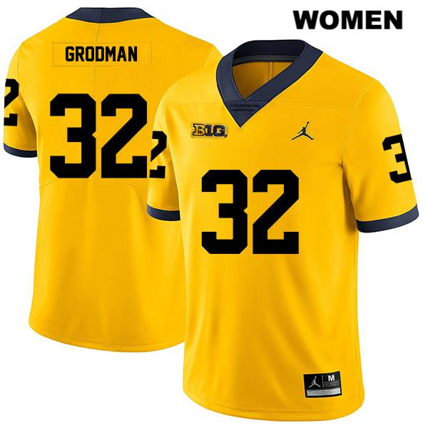 Womens Legend no. 32 Michigan Wolverines Stitched Yellow Louis Grodman Jordan Authentic College Football Jersey - Louis Grodman Jersey