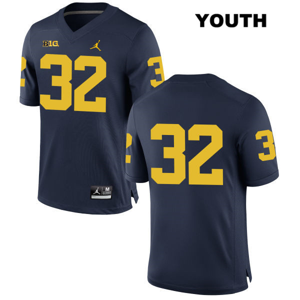 Jordan Youth Stitched no. 32 Michigan Wolverines Navy Louis Grodman Authentic College Football Jersey - No Name - Louis Grodman Jersey