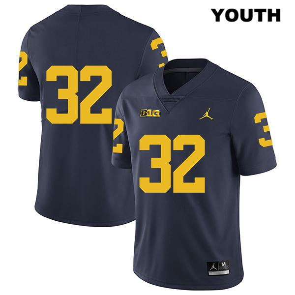 Youth Jordan no. 32 Michigan Wolverines Legend Navy Stitched Louis Grodman Authentic College Football Jersey - No Name - Louis Grodman Jersey