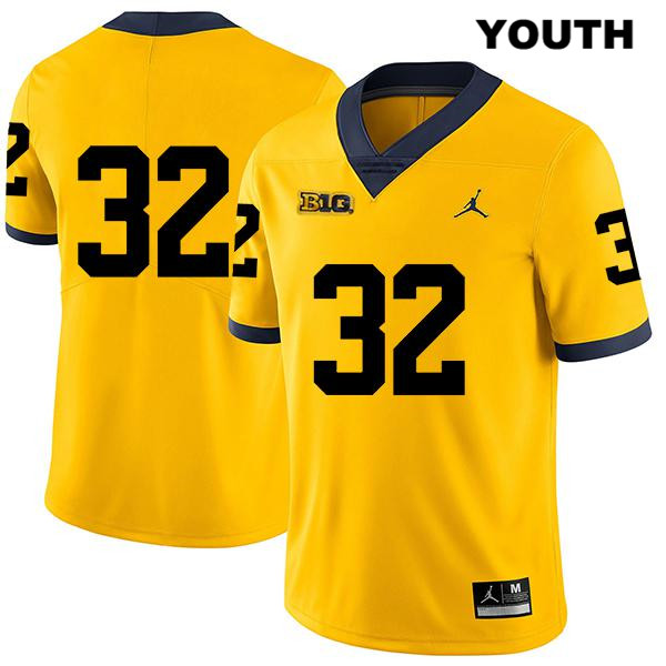 Youth Legend Jordan no. 32 Michigan Wolverines Yellow Louis Grodman Stitched Authentic College Football Jersey - No Name - Louis Grodman Jersey