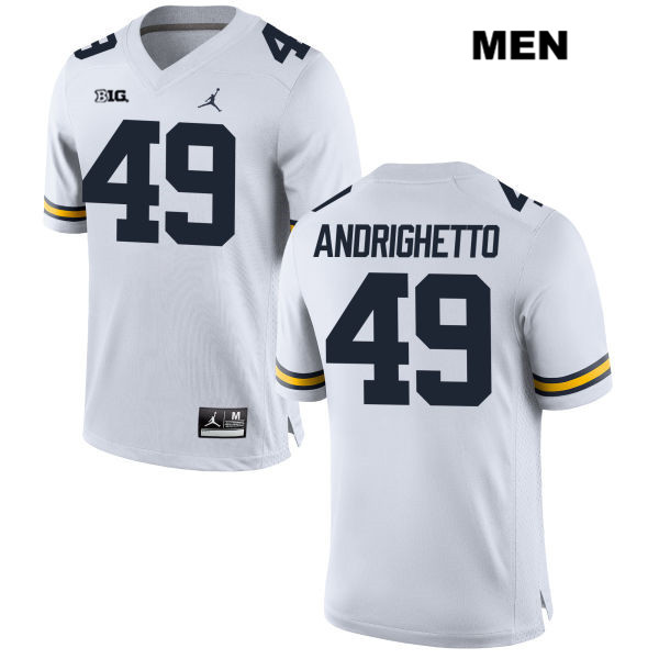 Mens no. 49 Michigan Wolverines White Lucas Andrighetto Jordan Stitched Authentic College Football Jersey - Lucas Andrighetto Jersey