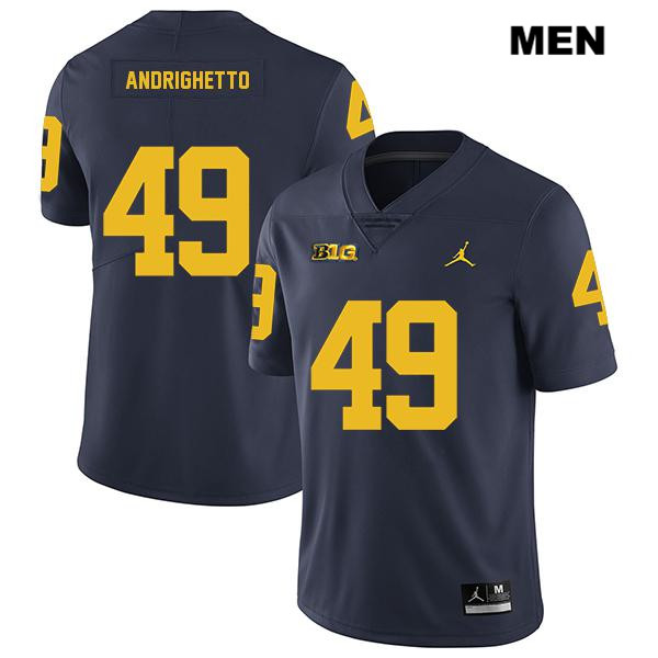 Mens Legend Jordan no. 49 Michigan Wolverines Stitched Navy Lucas Andrighetto Authentic College Football Jersey - Lucas Andrighetto Jersey