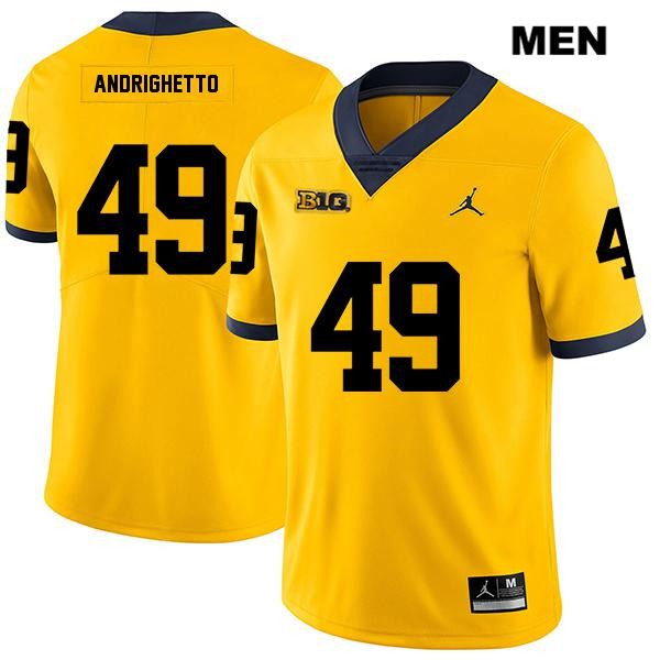 Jordan Mens no. 49 Michigan Wolverines Yellow Stitched Legend Lucas Andrighetto Authentic College Football Jersey - Lucas Andrighetto Jersey