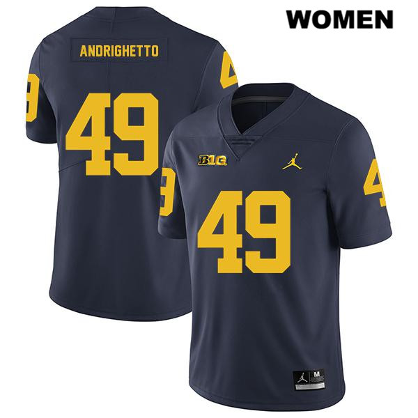 Womens no. 49 Michigan Wolverines Navy Stitched Jordan Lucas Andrighetto Legend Authentic College Football Jersey - Lucas Andrighetto Jersey