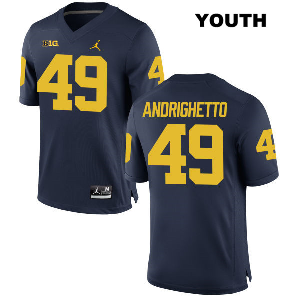 Stitched Youth no. 49 Michigan Wolverines Navy Jordan Lucas Andrighetto Authentic College Football Jersey - Lucas Andrighetto Jersey