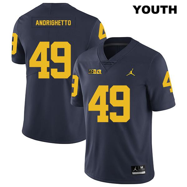 Youth no. 49 Michigan Wolverines Navy Legend Lucas Andrighetto Stitched Jordan Authentic College Football Jersey - Lucas Andrighetto Jersey
