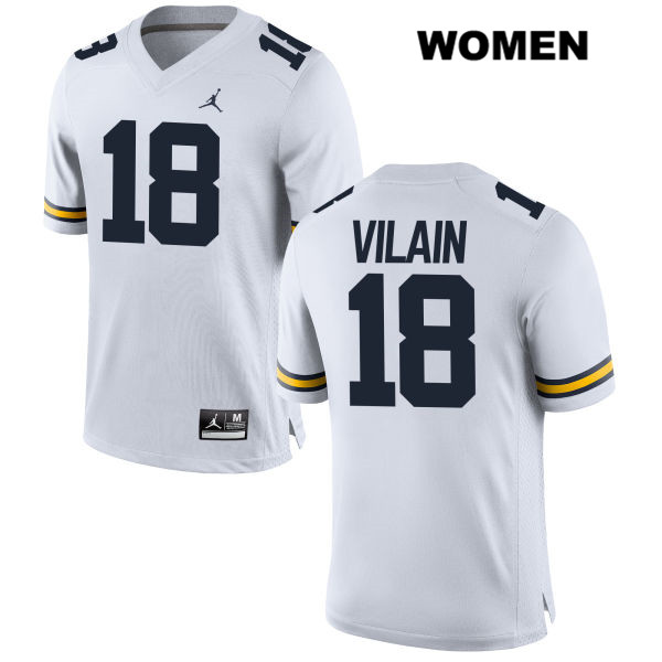 Jordan Womens Stitched no. 18 Michigan Wolverines White Luiji Vilain Authentic College Football Jersey - Luiji Vilain Jersey