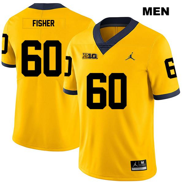 Mens no. 60 Legend Michigan Wolverines Stitched Jordan Yellow Luke Fisher Authentic College Football Jersey - Luke Fisher Jersey