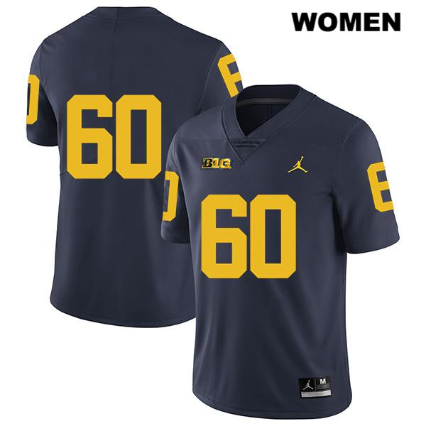 Womens Jordan no. 60 Michigan Wolverines Legend Navy Stitched Luke Fisher Authentic College Football Jersey - No Name - Luke Fisher Jersey